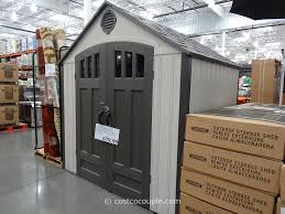 decor grey door backyard sheds costco with black metal handle for