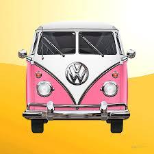 Volkswagen Type 2 Pink And White Volkswagen T 1 Samba Bus On