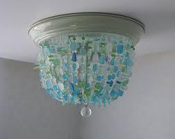 Coastal Ceiling Lights Sea Glass Chandelier Flush Mount Coastal Decor Glass Ceiling