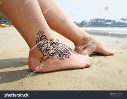 henna tattoo on foot palolem beach stock photo 267818651