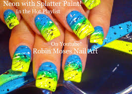 diy splatter paint nail art design tutorial easy neon gradient