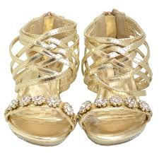 fabulous gold flower strap heel dress shoes baby 4 little girls 4