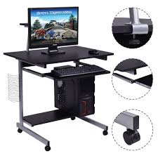 computer desk stand rolling laptop home office study table w