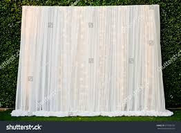 wedding backdrop fabric white see through fabric curtain decorate stock photo 275705195