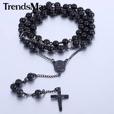 bead cross pendant necklace images Mens stainless steel black gold silver rosary bead cross pendant jpg