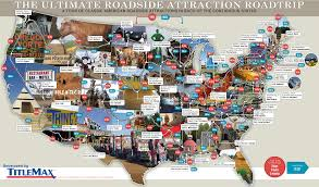 Road Trip Map 79 Weird Roadside Attractions Road Trip Infographic Titlemax