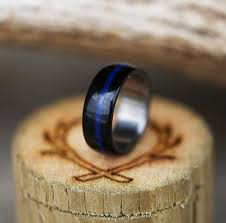 thin blue line wedding band black and blue acrylic ring thin blue line available in