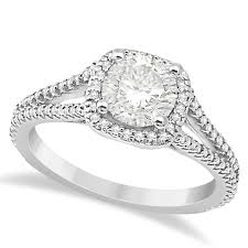 square style rings images Square halo diamond engagement ring split shank platinum 1 25ct jpg