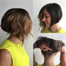 undercut women s hairstyles women u0027s versatile brunette asymmetrical undercut bob with shaved nape