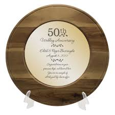 50th anniversary plates you can engrave anniversary personalized wooden plate