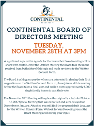 board meeting minutes and agendas continental country club and