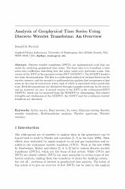 Child Support Letter Agreement Analysis Of Geophysical Time Series Using Discrete Wavelet