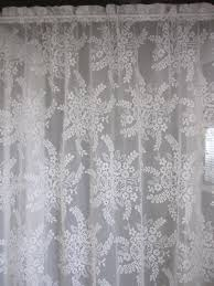 Shabby Chic Window Panels by Vintage Lace Curtain Off White Floral Bouquet By Thecottageway