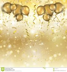 gold balloons gold balloons and confetti background stock vector image 71035110