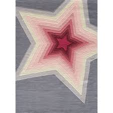 pink red and gray star applique area rug