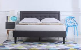 camden low profile bed w nailhead trim headboard sofamania com