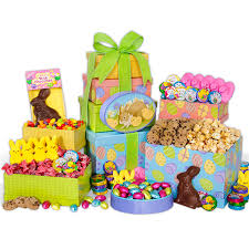 easter bunny gifts happy easter gift tower by gourmetgiftbaskets