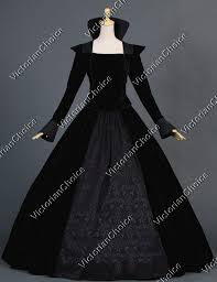 Ball Gown Halloween Costumes Renaissance Medieval Witch Queen Black Dress Punk Cosplay