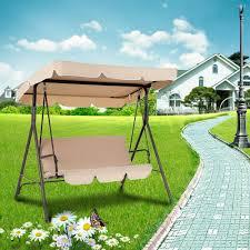 3 Seater Garden Swing Chair Ikayaa Patio Swing Chair Garden Swing Chair 3 Seat Cushioned With
