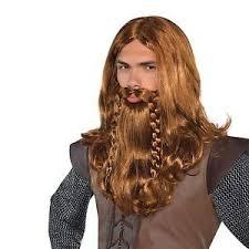 viking warrior hair mens nordic viking warrior long hair wig beard fancy dress
