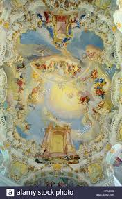 baroque ceiling of wies church bavaria germany stock photo