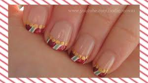 simple candy cane christmas nail art tutorial youtube