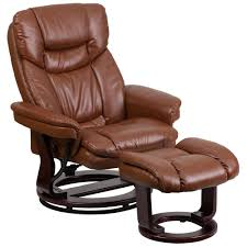Leather Recliner Chair With Cup Holder Mac Motion Comfort Chair Java Leather Swivel Recliner With Ottoman