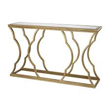 Metal Console Table Titan Lighting Metal Cloud Antique Gold Leaf Mirrored Top Console