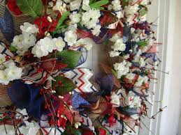 americana wreath chevron ribbon fourth of july summer wreath
