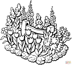 beautiful garden in summer coloring page free printable coloring