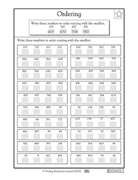 2nd grade 3rd grade math worksheets putting numbers in order