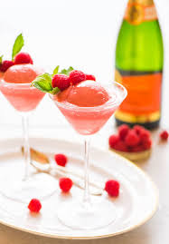 Pink Cocktails For Baby Shower - raspberry champagne float