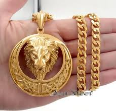 aliexpress pendant necklace images Men 39 s gold stainless steel heavy large king lion round pendant jpg