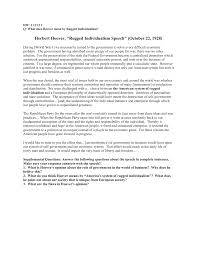 What Does Rugged Individualism Mean Herbert Hoover