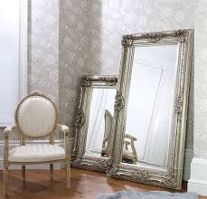 Silver Leaf Nightstand Bedroom Silver Leaf And Black Accent Floor Leaner Mirror On Wheat