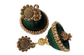 jhumka earrings uk buy soundarya lahari green silk thread alloy metal jhumka earrings