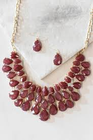 earrings statement necklace images Burgundy faux jewel statement necklace earring set jpg