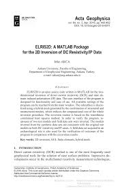 elris2d a matlab package for the 2d inversion of dc resistivity