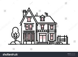 european style house european style house icon line style stock vector 626213225