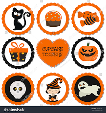cartoon halloween picture cupcake toppers halloween halloween cartoon style stock vector