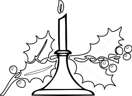 christmas candle black white line art xmas holiday coloring book