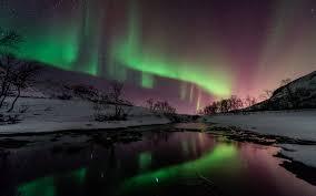 borealis northern lights night green stars snow winter