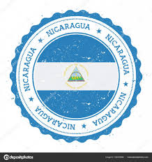 Blue Flag Stars In Circle Grunge Rubber Stamp With Nicaragua Flag Vintage Travel Stamp With