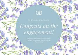 engagement greeting card pastel blue floral watercolor background engagement greeting card
