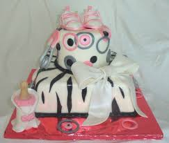 whimsical pink grey black and white zebra striped baby shower