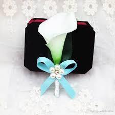 calla boutonniere fashion handmade calla flower corsage with bowknot rhinestone