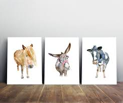 cow art donkey art pony watercolor painting giclee prints