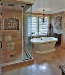 mediterranean corner shower bathroom with square tile dallas