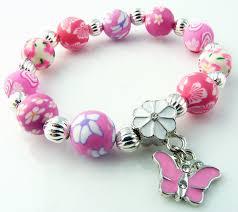 charm bracelet for snazzy 10mm polymer clay butterfly charm bracelet pink
