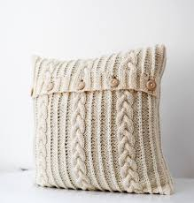 knitted pillow cable cushion cover hand knitted milk white
